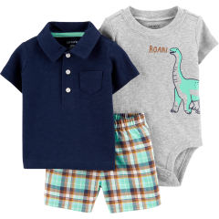 ست 3 تکه لباس نوزادی پسرانه کارترز طرح دایناسور کد M199