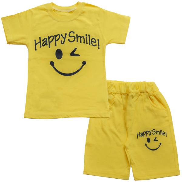 ست تیشرت و شلوارک پسرانه طرح happy smile کد 1