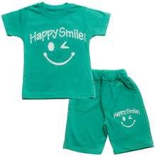ست تیشرت و شلوارک پسرانه طرح happy smile کد 2