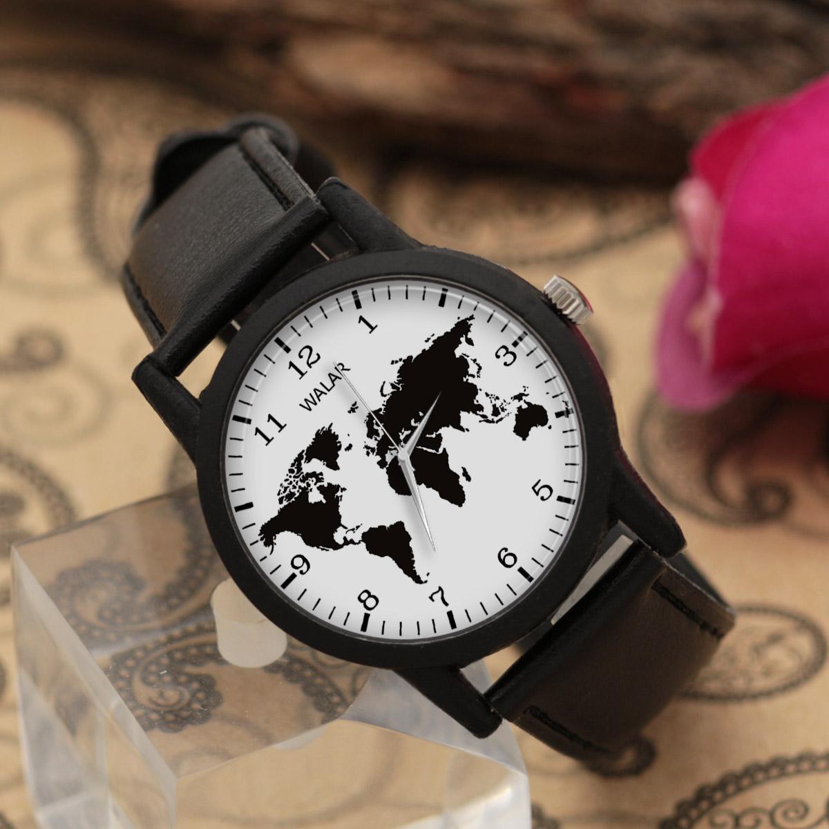 کد تخفیف                                      ساعت مچی عقربه ای والار طرح نقشه جهان کد LF2668
