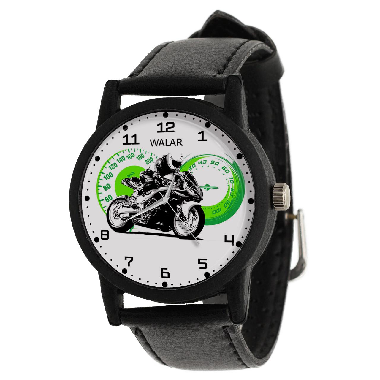کد تخفیف                                      ساعت مچی عقربه ای والار طرح موتورسواری کد LF2754