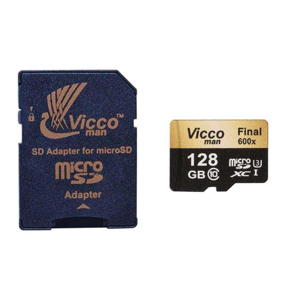 کارت حافظه microSDXC ویکومن مدل Final 600x plus کلاس 10 استاندارد UHS-I U3 سرعت 90MBs ظرفیت 128 گیگابایت به همراه آداپتور SD