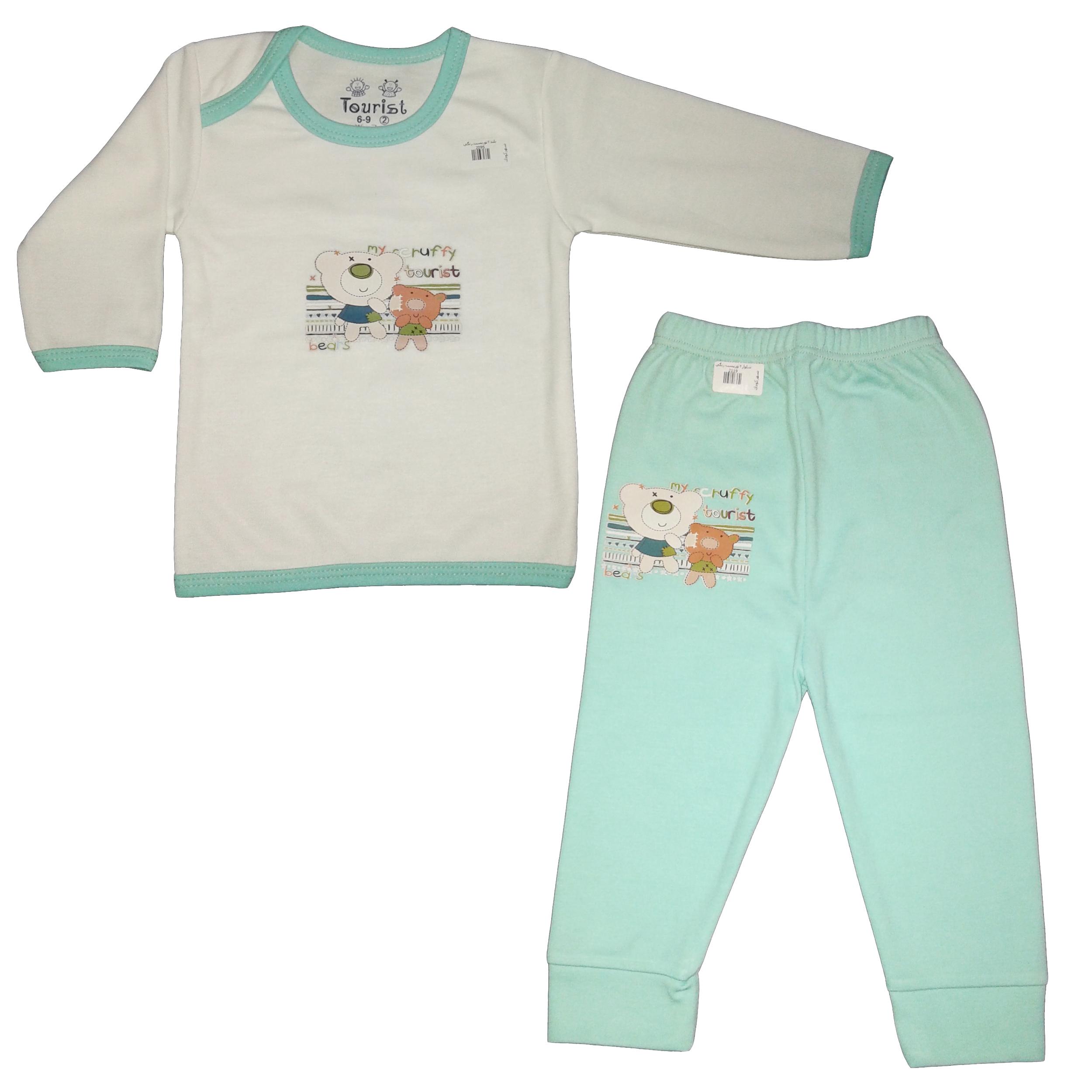 ست تی شرت و شلوار نوزادی پسرانه کد 013