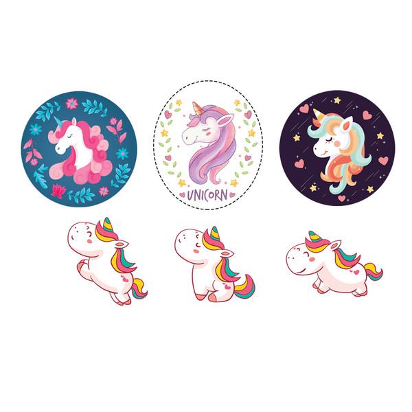 استیکر لپ تاپ طرح Unicorn کد S14 مجموعه 6 عددی