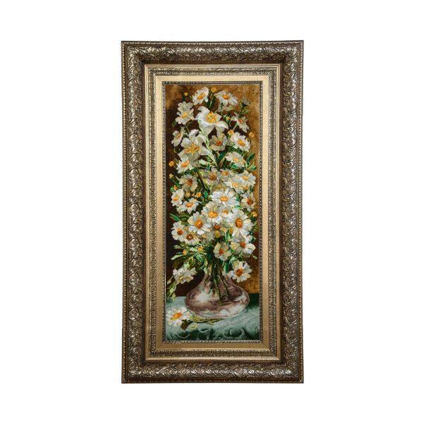 تابلو فرش دستبافت طرح گل بابونه کد 47
