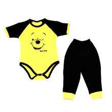 ست بادی آستین کوتاه و شلوار نوزاد پسرانه طرح خرس