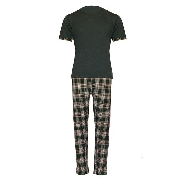 ست تی شرت و شلوار مردانه لباس خونه کد 990411 رنگ یشمی
