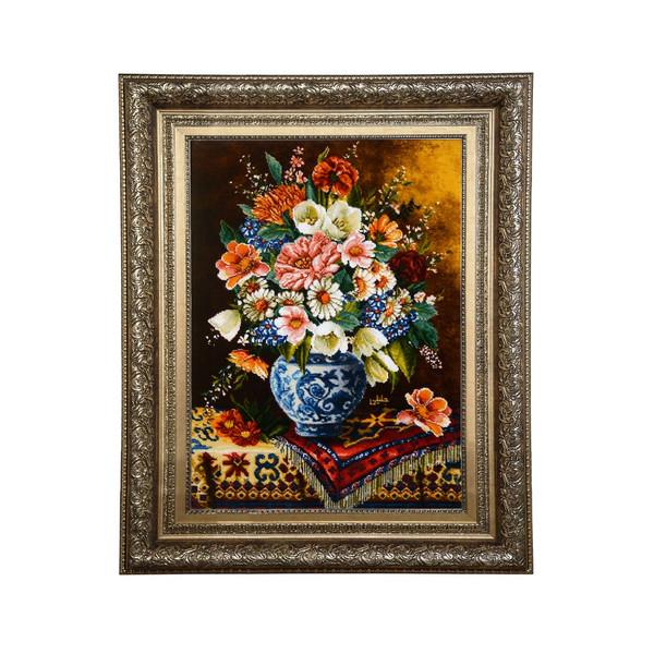 تابلو فرش دستبافت طرح گل و گلدان کد 29