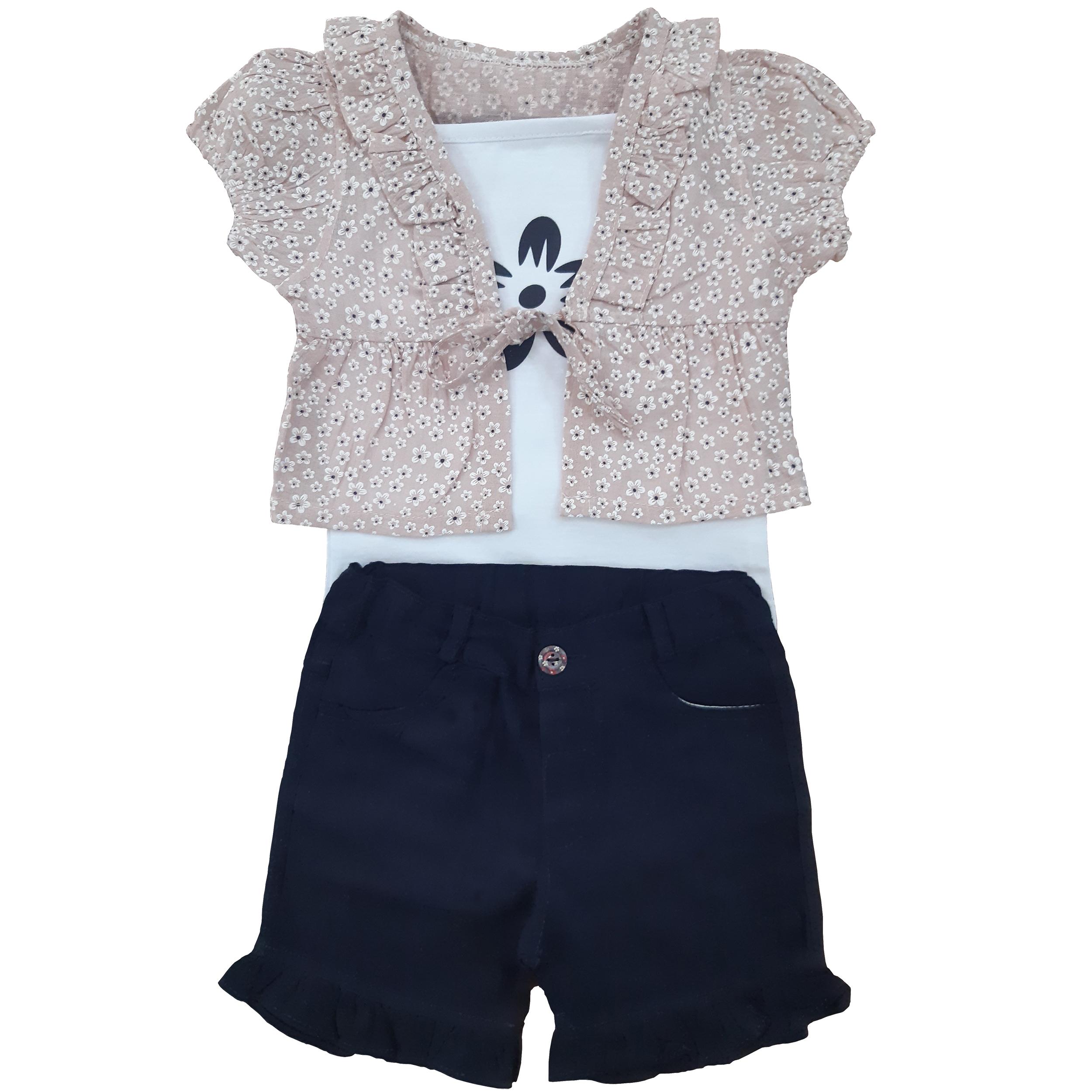 ست سه تکه لباس نوزادی دخترانه مدل بهار کد p1013