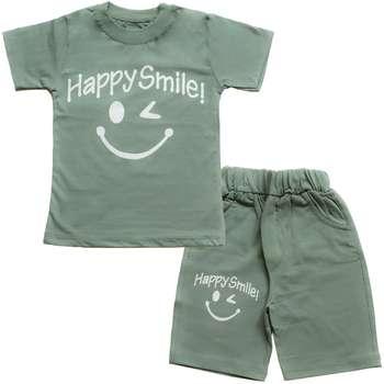 ست تیشرت و شلوارک پسرانه طرح happy smile کد 4