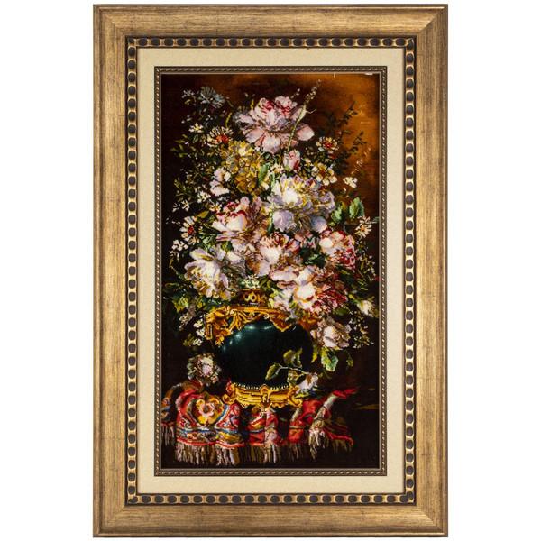 تابلو فرش دستباف سی پرشیا طرح گل با گلدان کد 901821