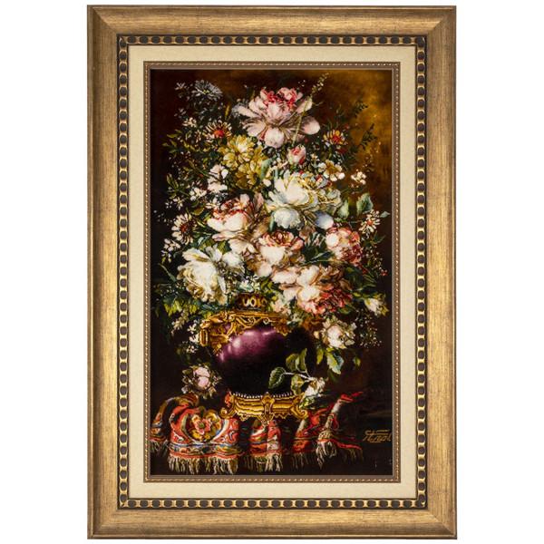 تابلو فرش دستباف سی پرشیا طرح گل در گلدان کد 901832