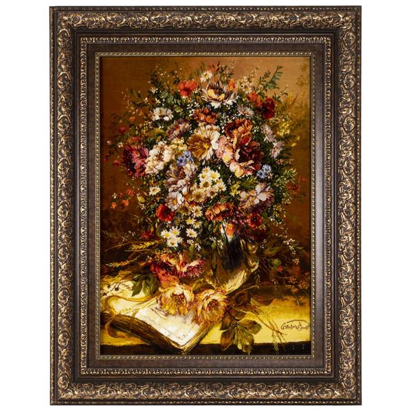 تابلو فرش دستباف سی پرشیا طرح گل در گلدان کد 901835