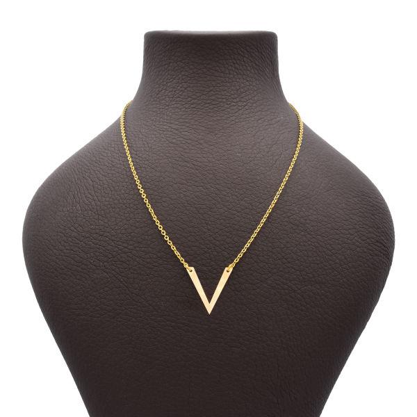 گردنبند طلا 18 عیار زنانه طرح V کد 715M410