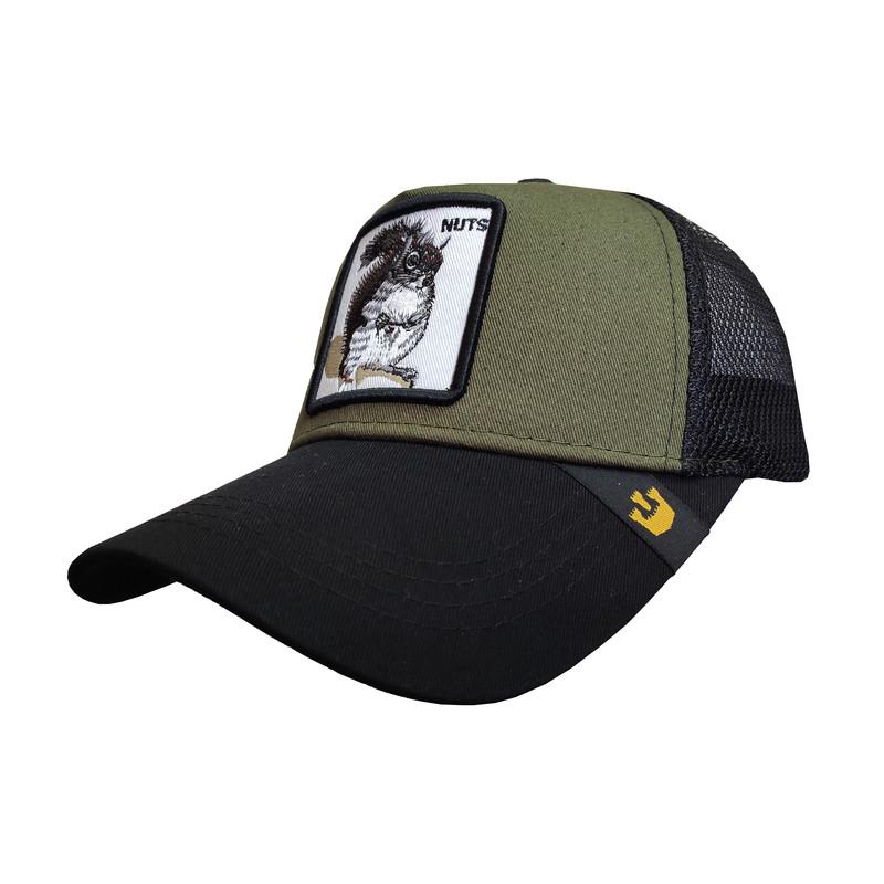 کلاه کپ پسرانه طرح سنجاب کد PT-30306 رنگ سبز