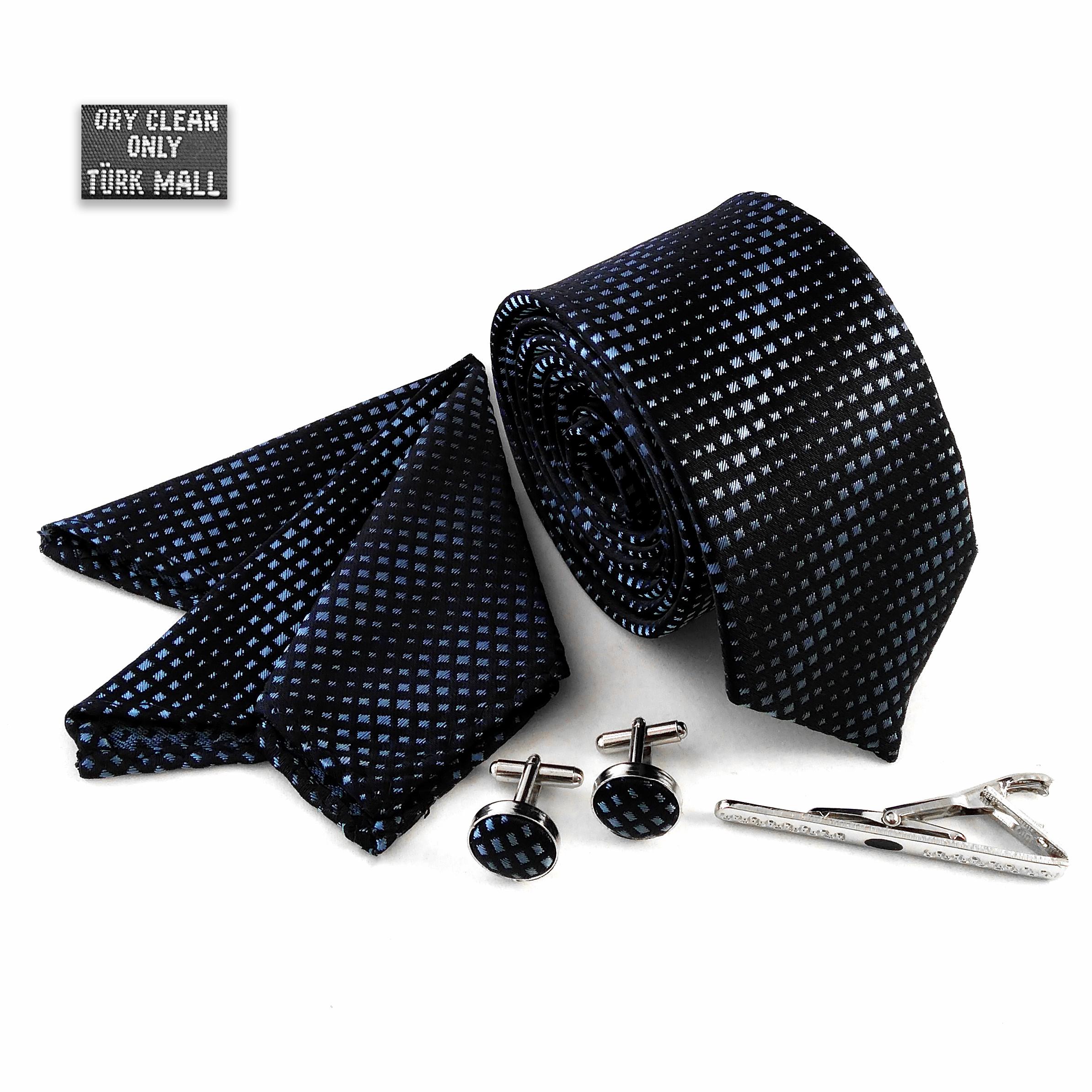 ست کراوات و دستمال جیب و دکمه سردست مردانه اکسون کد 389