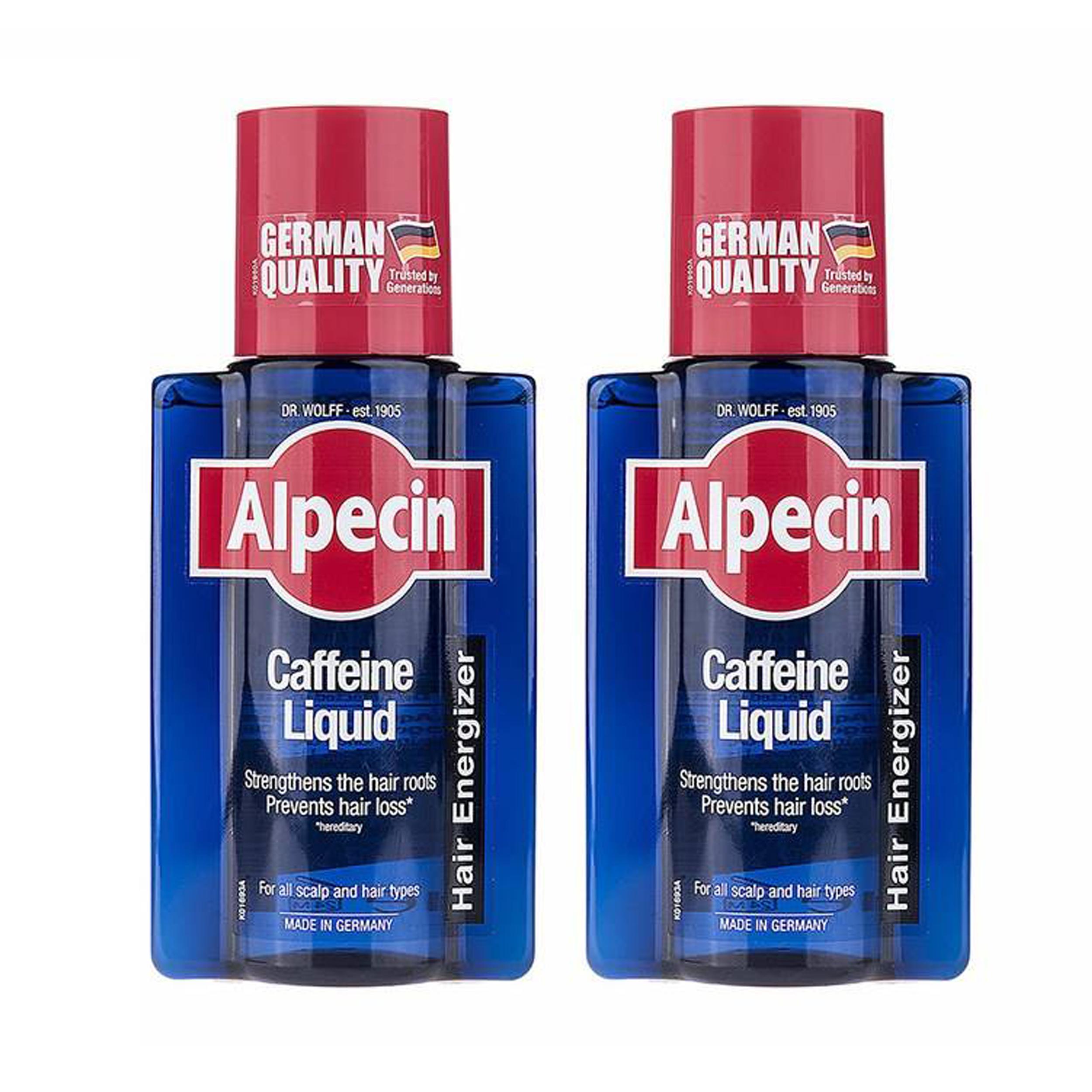 محلول تقویت کننده مو آلپسین مدل Caffeine حجم 200 میلی لیتر مجموعه 2 عددی