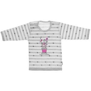 تی شرت آستین بلند نوزادی دخترانه طرح گلدون مدل T-11