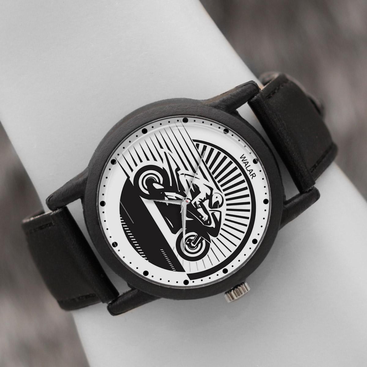 کد تخفیف                                      ساعت مچی عقربه ای والار طرح موتورسواری کد LF2107