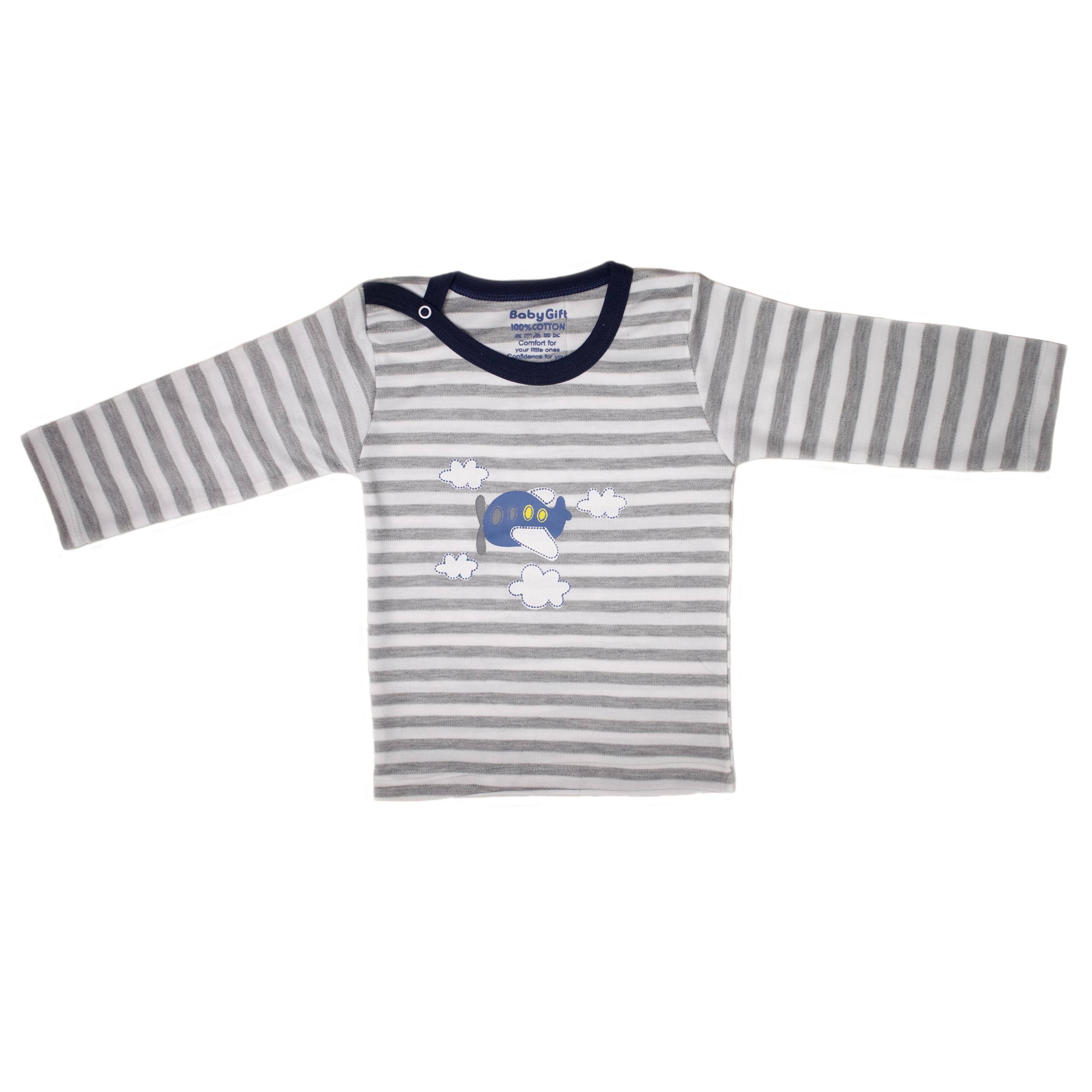 ست تی شرت و شلوار نوزادی پسرانه طرح هواپیما کد 100