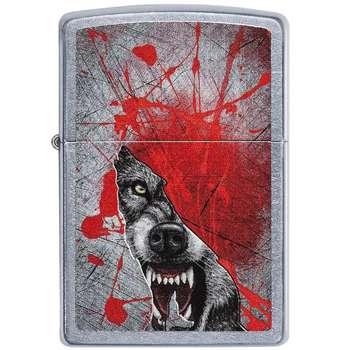 فندک زیپو مدل Grunge Howling Wolf کد 29344