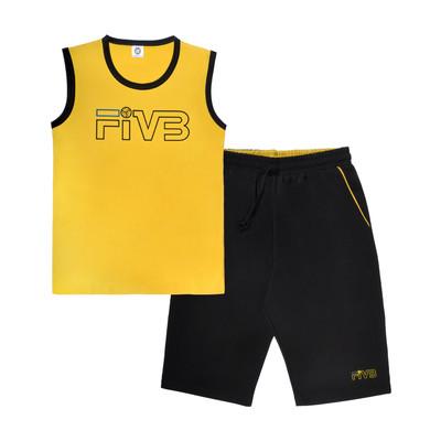 تصویر ست تاپ و شلوارک مردانه پندار طرح Fivb کد C2
