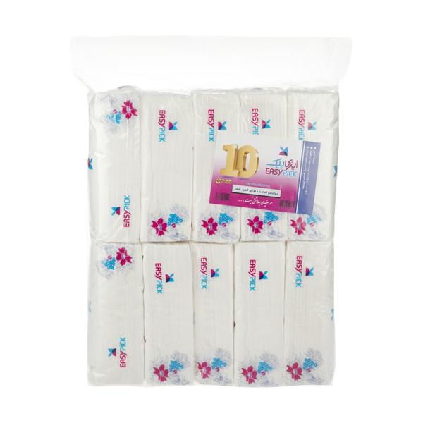 دستمال کاغذی 200 برگ ایزی پیک مدل Flower بسته 10 عددی