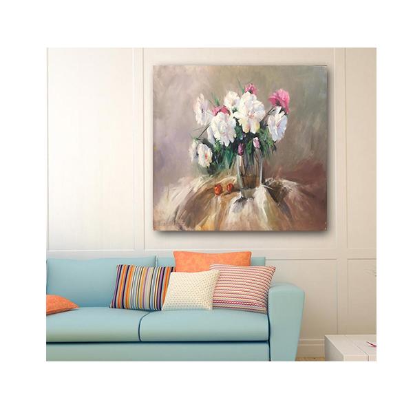 خرید                      تابلو نقاشی رنگ روغن مدل گلدان گل کد ARP3