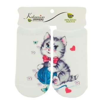 جوراب نوزاد کاتامینو طرح گربه شیطون