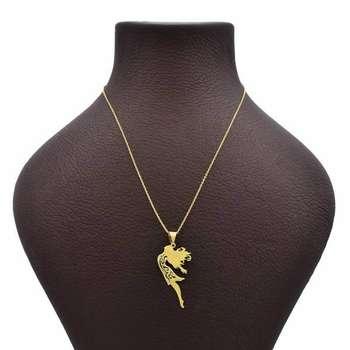 گردنبند طلا 18 عیار زنانه طرح دختر کد UN0162