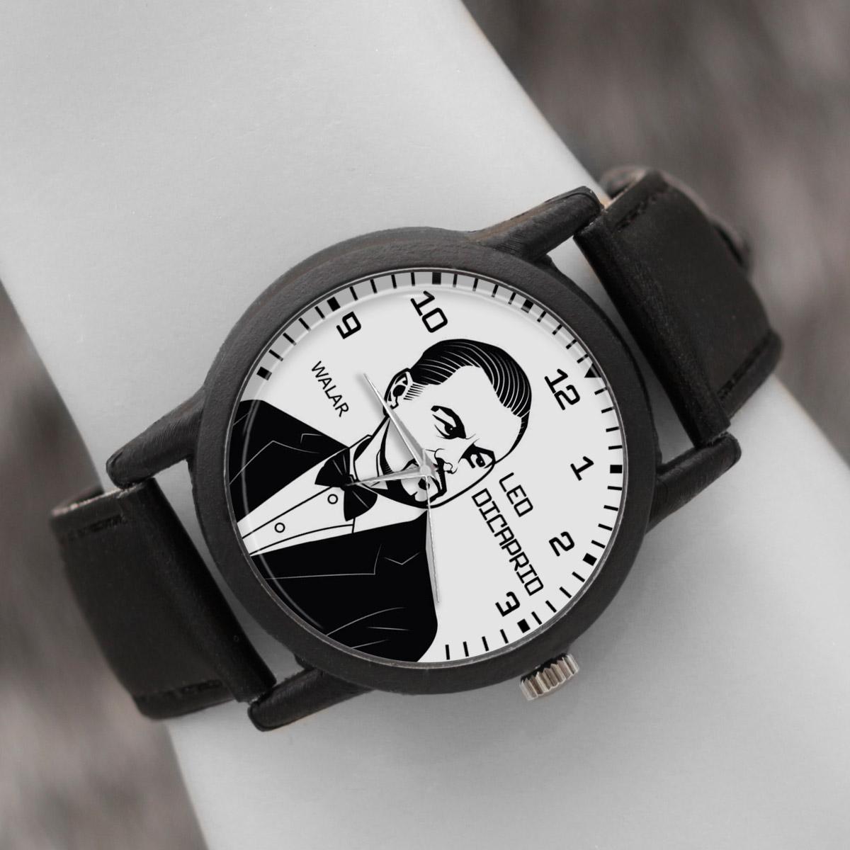 کد تخفیف                                      ساعت مچی عقربه ای والار طرح لئوناردو دیکاپریو کد LF2428