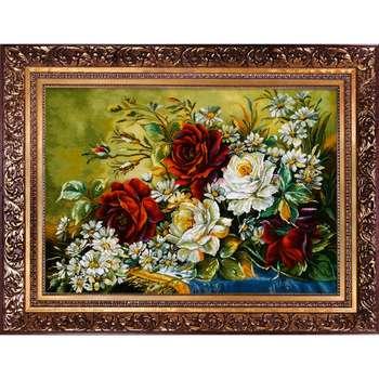 تابلو فرش دستبافت طرح  گل رز کد 1743
