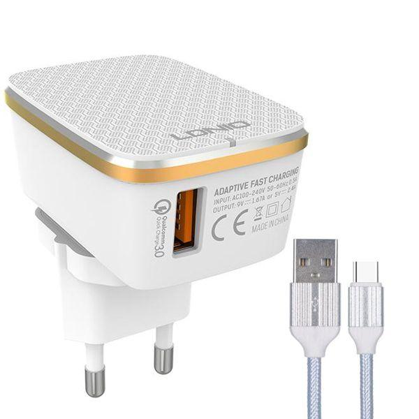 شارژر دیواری الدینیو مدل A1204Q به همراه کابل تبدیل USB-C