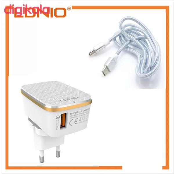 شارژر دیواری الدینیو مدل A1204Q به همراه کابل تبدیل USB-C main 1 1