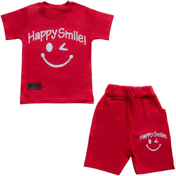 ست تیشرت و شلوارک پسرانه طرح happy smile کد 3