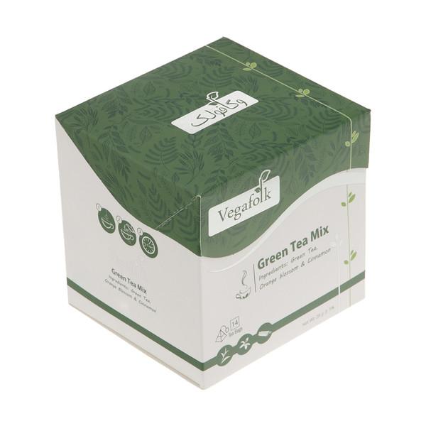 دمنوش مخلوط چای سبز وگافولک بسته 14 عددی
