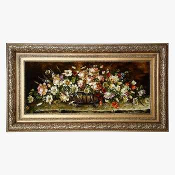تابلو فرش دستبافت طرح گل و گلدان کد 70
