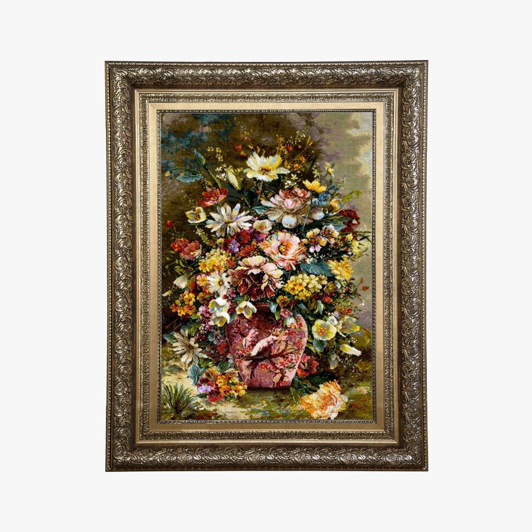 تابلو فرش دستبافت گل و گلدان کد 96