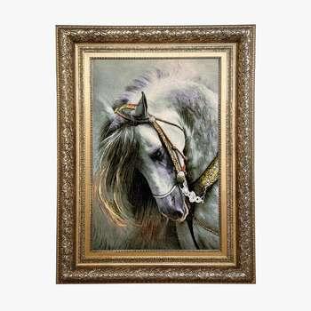 تابلو فرش دستبافت طرح اسب کد 129