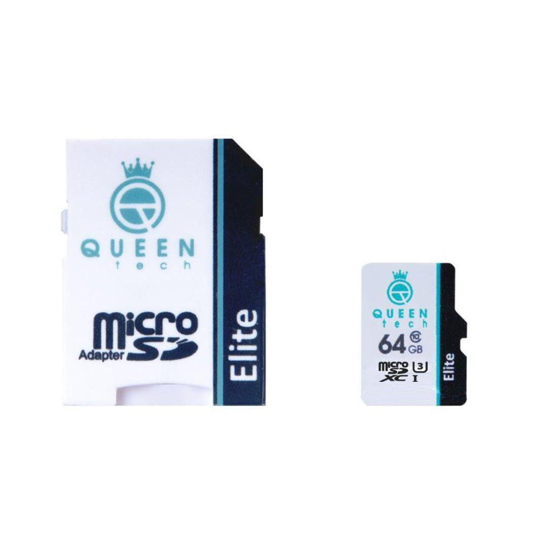 خرید اینترنتی کارت حافظه microSDXCC کوئین تک مدل Elite 433X کلاس 10 استاندارد UHS-I U3 سرعت 65MBps ظرفیت 64 گیگابایت به همراه آداپتور SD اورجینال
