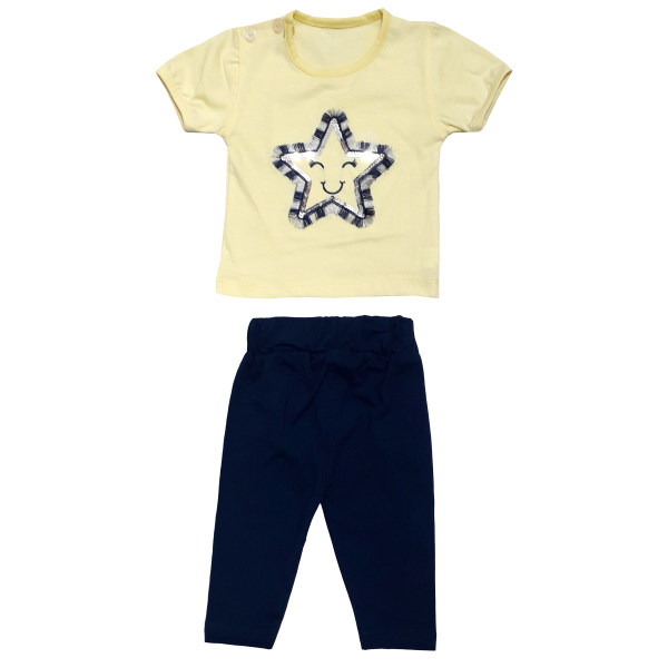 ست تی شرت و شلوار نوزادی دخترانه مدل 5029