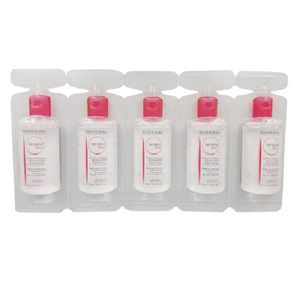 محلول پاک کننده آرایش صورت بایودرما مدل Sensibio H2O به همراه محلول پاک کننده حجم ۱۰ میلی لیتر بسته ۲۵ عددی