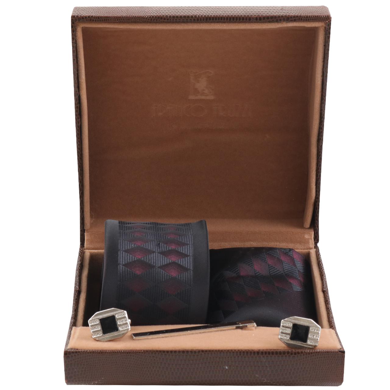 ست کراوات و دستمال جیب و دکمه سر دست مردانه کد SH-1144-A