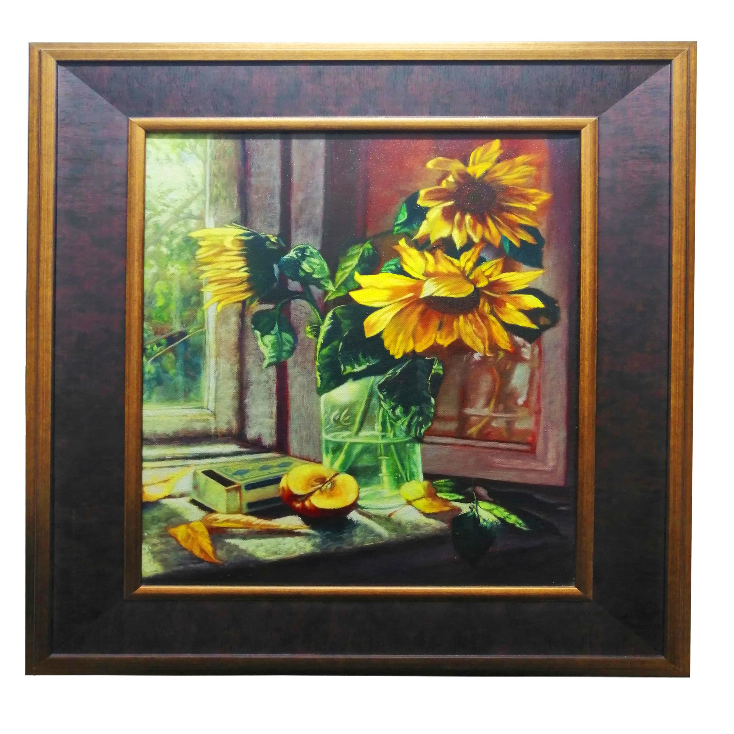 تابلو رنگ روغن طرح گل آفتاب گردان کد w03