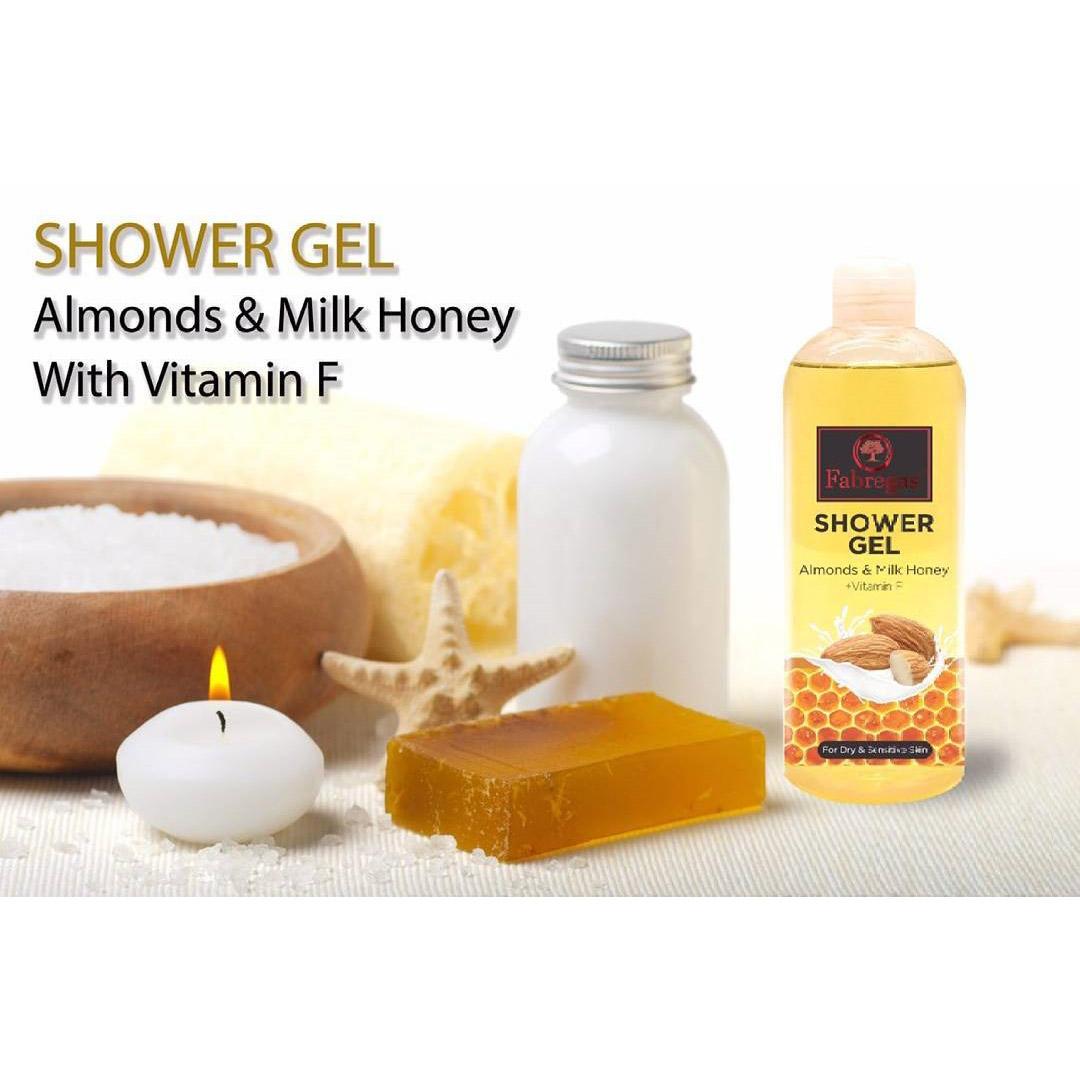 ژل شست و شوی بدن فابریگاس مدل Almond And Milk Honey حجم 400 میلی لیتر