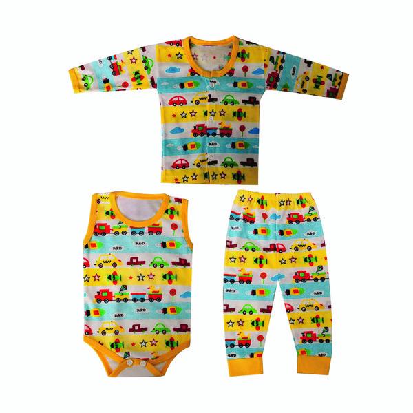 ست 3 تکه لباس نوزادی طرح قطار کد 1013