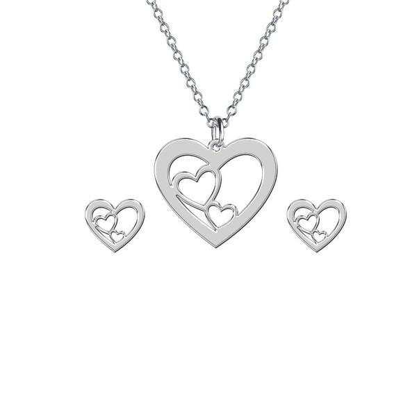 نیم ست نقره زنانه مدل 3 قلب کد 13R