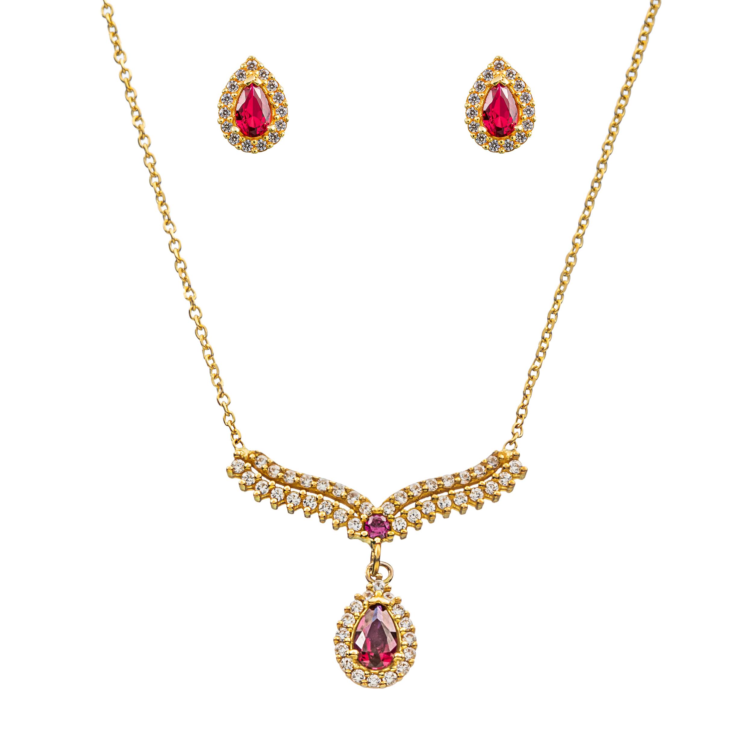 نیم ست طلا 18 عیار زنانه جواهری سون مدل 2461