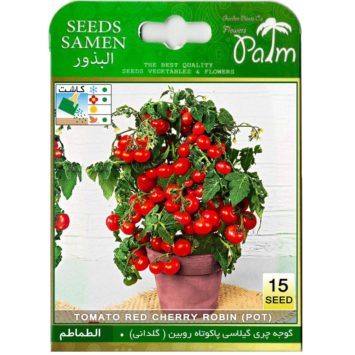 بذر گوجه قرمز گیلاسی پاکوتاه گلدانی پالم کد 15
