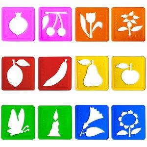 شابلون دانشمند مدل گل و میوه مجموعه 12 عددی